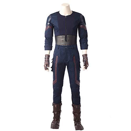 Pandacos Captain America Kostüm Herren Cosplay Costume Deluxe Anzug aus The Avengers 3: Infinity War für Halloween, Karneval und ()