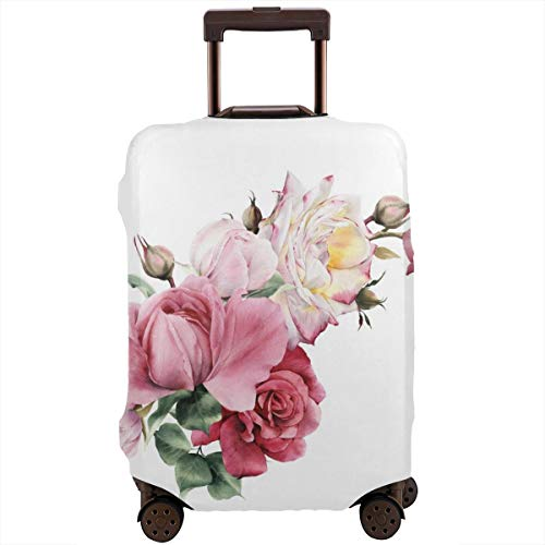 Travel Suitcase Protector,Bouquet of Roses Watercolor Can Be Used As Greeting Card Invitation Card for Wedding Birthday and Other Holiday and Summer,Suitcase Cover Washable Luggage Cover XL