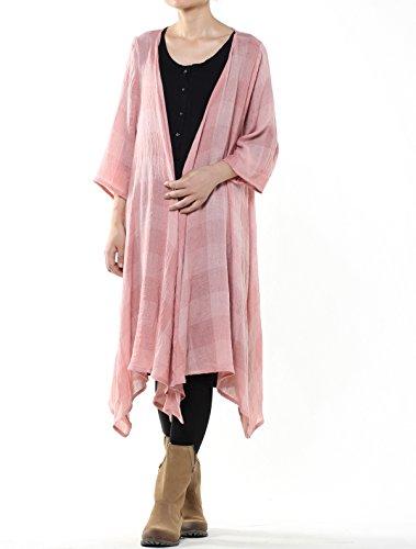 Vogstyle Donna Soprabito Casuale Leggerro Con Maniche 3/4 Per Estate Stile-1 Plaid Rosa