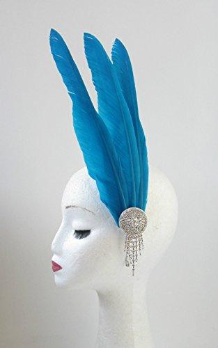 Bleu turquoise argent Bandeau Serre-tête bibi avec plume Vintage Races v84 * * * * * * * * exclusivement vendu par – Beauté * * * * * * * *