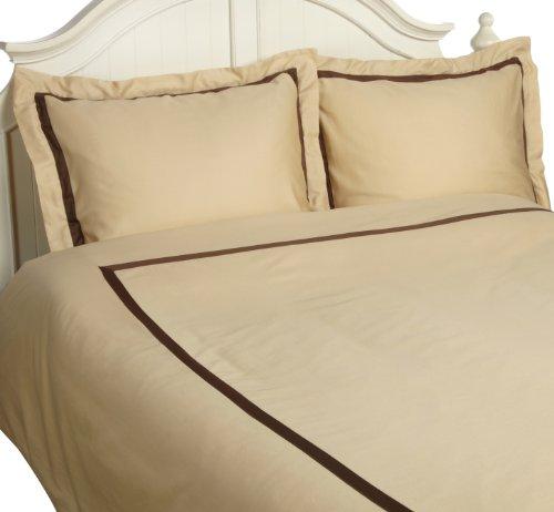 Superior Impressions Bettwäsche-Set, Fadenzahl 300, 100% Baumwolle, Einzellagig, für Doppelbett/Queensize-Bett, Schwarz mit Grau Modern Full/Queen Honey/Mocha -