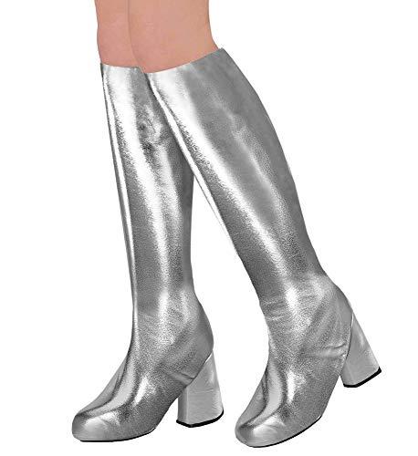 Stulpen Silber Kostüm - shoperama 70er Metallic Damen Stiefel Überzieher Stulpen glänzend Disco Festival Show Revue Space-Girl Kostüm-Zubehör, Farbe:Silber