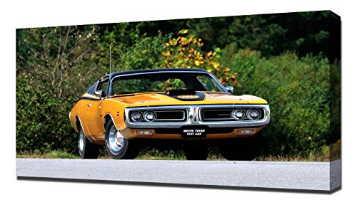 Lilarama 1971 Dodge Charger Super Bee V8 - Art Leinwandbild - Kunstdrucke - Gemälde Wandbilder
