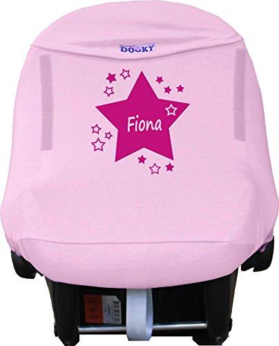 Sonnenschutz für Maxi Cosi mit Namen personalisiert rosa
