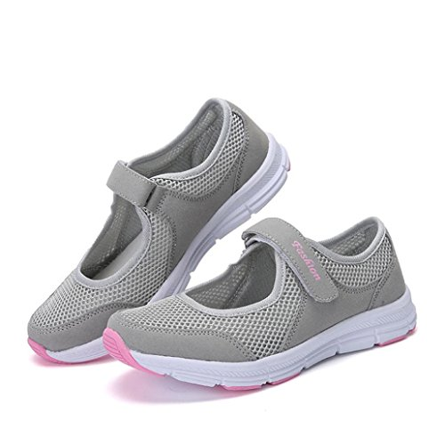 beautyjourney Scarpe da Ginnastica Basse Sandali donna Scarpe basse sneakers estive eleganti donna scarpe da corsa donna Sportive donna scarpe estate sandali (40, Grigio)