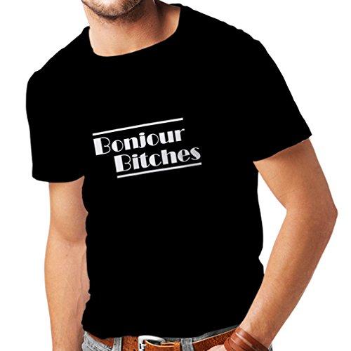 N4316 Männer T-Shirt Bonjour Bitches (XXXXX-Large Schwarz Weiß)