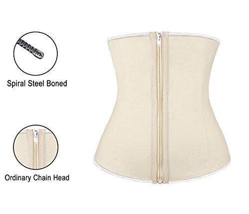 Charmian Women's Latex Waist Training Underbust Corset Weight Loss Body Shaper Zipper-apricot