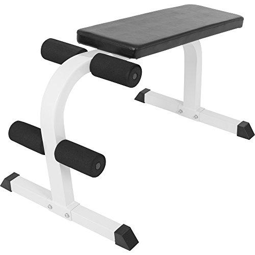 GORILLA SPORTS® Bauchtrainer mit Beinfixierung Weiß - Sit-Up Hantelbank bis 150 kg belastbar