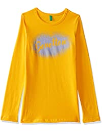United Colors of Benetton Girl's Solid Regular Fit T-Shirt