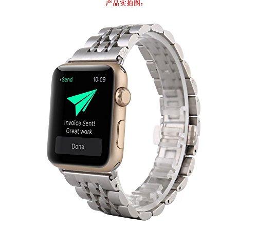 Preisvergleich Produktbild kokome Edelstahl Ersatz Smart Watch Band Wrist Strap Armband mit Schmetterling Apple iWatch Band (42 mm,  Remasuri)