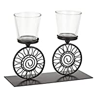 Harmony Glass Candle Holder With Metal Stand - 2 Piece Set