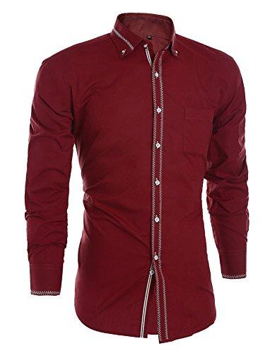 JEETOO Herren Slim Fit Langarm Hemd mit Stickerei Hochzeit Businesshemd  Super Modern Lässig Hemd Bügelleicht Rotwein