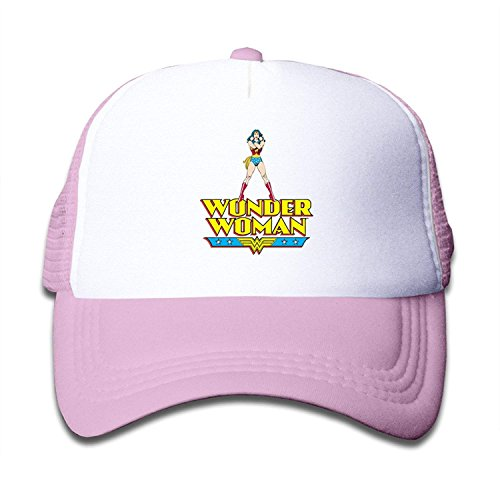 VIVI 66 An Unisex Kids Trucker Cap with Mesh Adjustable - Wonder Woman WW Logo Pink