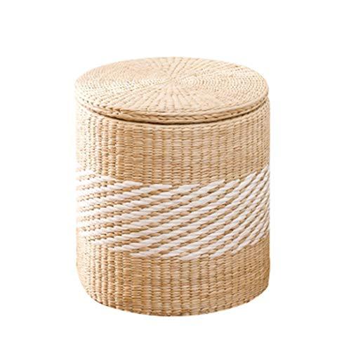 Grass Rattan Storage Hocker - Kann Sitzen Leute Ändern Schuhe Hocker Lagerung Hocker Spielzeug Finishing Aufbewahrungsbox Fuß Bettende Hocker (größe : Runden) -