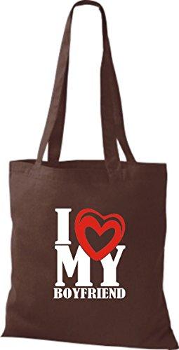 ShirtInStyle Shopper Valentinstag I Love My Boyfriend braun