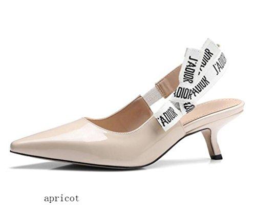 Toe T-bar (OL Pumps Hochzeit Spitz Peep Toe Kitten Low Heel Sling zurück Elegante Frauen Casual Date Schuhe EU Größe 34-40 , apricot , 38)