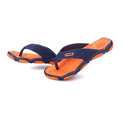 (Beiläufige Bequeme Männer männliche Sommer-Pantoffel-Schuh-Breathable Gummiplattform-Normallack-Mann-Flipflop-Pantoffel-Schuhe - Orange 44)