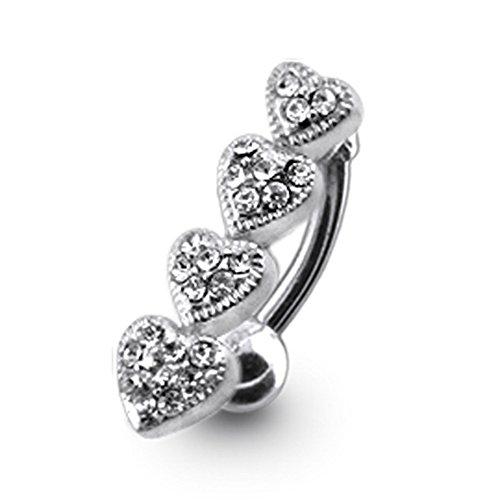 Bijou de corps anneau de nombril 4 cœurs à pierre Argent Sterling avec 14G-3/8 Inch (1.6x10MM) Banana Acier chirurgical 316L White