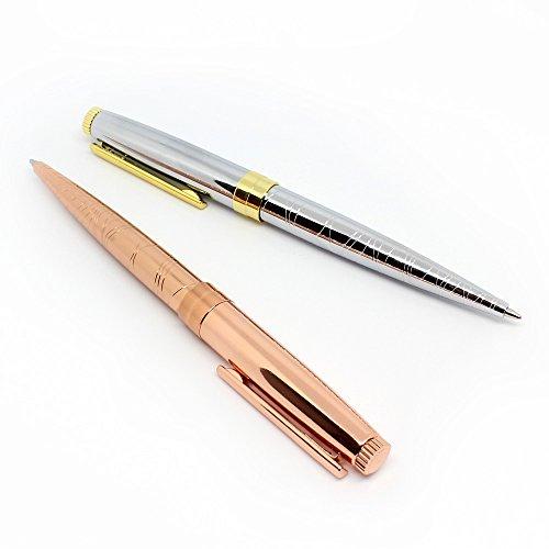 Kugelschreiber Hochwertig Rose Gold und Silberr Ballpoint Stift Set für Frauen in Geschenkbox, Schwarz Tinte, von Elmina