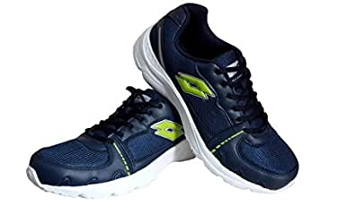 Lotto Tracker (AR3201) Navy Blue & Light Green Mesh Sports Shoes (UK-10)