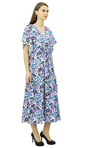 Phagun Womens Baumwolle Kaftan mit Blumenmuster Midi Kaftan Nachtwäsche Coverup Dress Lila und Weiß