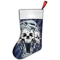 False warm warm Floral Skull Pattern Personalized Christmas Hanging Stockings Bag Socks Christmas Tree Decoration Custom Gifts (Christmas Tree Decoration)