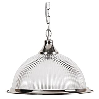 New Jersey American Diner Ceiling Pendant Light in Silver with Clear Glass Shade
