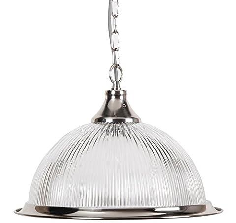 New Jersey American Diner Deckenpendelleuchte in Silber mit Klarglas Shade (Kitchen Inseln Frühstück Bar)