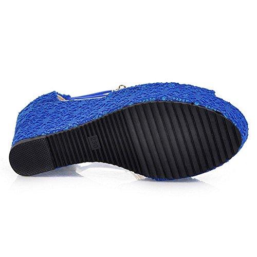 RAZAMAZA Femme Elegant Talon Compense Sandales Sangle De Cheville Peep Toe Perle Chaussures Bleu