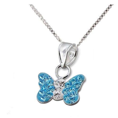 FIVE-D Set Kette Kinder Anhänger Schmetterling Kristalle 925 Silber im Schmucketui (Blau) (Schmetterling Halskette Für Mädchen)