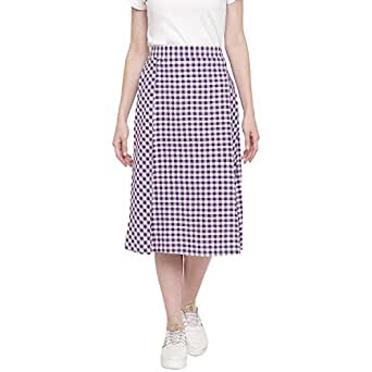 Fabnest Womens Handloom Cotton Purple Gingham Panelled Skirt with Side Slit.