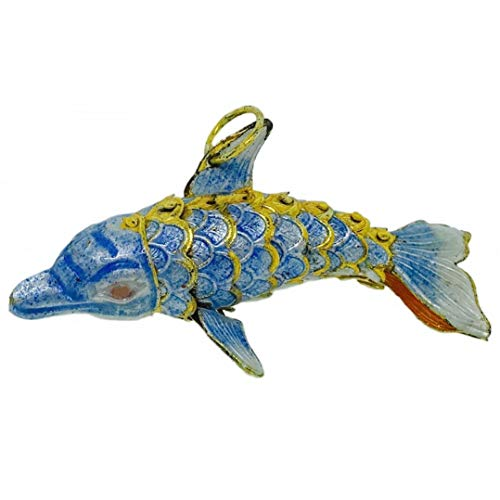 ps Small Light Blue Dolphin Articulated Cloisonne Metal Christmas Ornament Sea Life ()