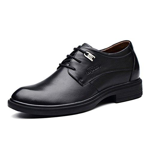 Feidaeu Chaussures Ville Lacet Hommes Hidden Wedge Cuir Business Commercial Bloc Talon Lacet Soulier Noir