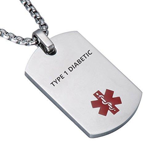 Med-kette (LiFashion LF Edelstahl TYPE 1 DIABETIC Medical Alert Erkennungsmarke ID Anhänger Caduceus halskette für Männer Frauen Teenager Gesundheit Alarm Überwachung Systeme)