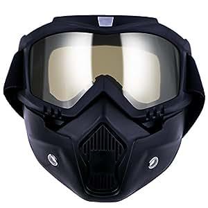 TedGem Maschera per snowboard sci moto motocross, casco moto con filtro per bocca all'aperto scomponibile casco motocross casco mascherina moto