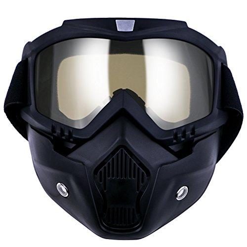 TedGem Masque Noir et Lunette, Masque de Moto Lunettes Détachables et Filtre de Bouche pour le Casque de Visage Ouvert Snowboard de Ski Motocross (Transparent)