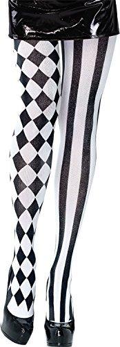 Harlekin Streifen kariert Clown Zirkus Halloween Pantomime Künstler Kostüm Kleid Outfit Strumpfhose ()