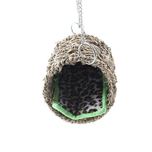 Emours – Hängematte aus natürlichem Seegras, Spieltunnel, hängendes Bett, Spielzeug, Haus für Ratten oder Hamster