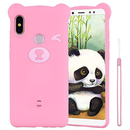 ChoosEU Compatible para Funda Xiaomi Mi A2 Lite Silicona Dibujos Oso Panda Creativa Carcasas para Chicas Mujer Hombres, Case Antigolpes Cover Caso Protección Cordón con Correa - Rosado