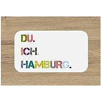 Frühstücksbrettchen Brettchen DU. ICH. HAMBURG. Schneidebrett 23 x 14 cm bunt Geschenkidee Geburtstag Einzug