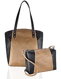 Fargo Motley PU Leather Women's & Girl's Shoulder Tote Handbag & Cross Body Side Sling Bag Combo (Beige,Black_FGO-042)