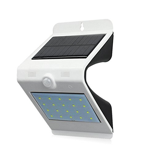 Websun Solar Lights LED Wall Solar-Sicherheits-Licht aktiviert ON / OFF mit Touch Switch Wasserdicht Sicherheits-Bewegungs-Sensor Outdoor Beleuchtung mit 20+4 LED-Licht für Garten, Patio, Exterior Garage (1pcs, weiß)