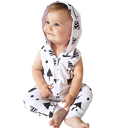 Trada Neugeborene Romper, Kinder Baby Jungen Mädchen Pfeil gedruckt mit Kapuze Strampler Overall Outfits Kleidung Sets Baby Bekleidungssets Baby Set Unisex Bodys Anzug (70, Weiß)