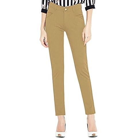 sourcingmap Mujer Talle Medio Flaco Zip Fly Bolsillos Pantalones Tipo Lápiz