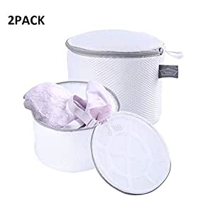 Getko With Device Double Layer Laundry Washing Bag Circular Zipper Cloth Bag Mesh Bra Lingerie Cleaning Wash Bag, for Washing Machine - Pack of 2