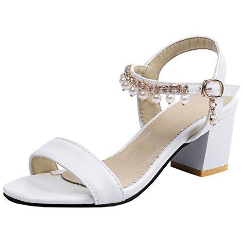 Artfaerie Damen Open Toe Slingback Sandalen mit Perlen und Schnalle Blockabsatz Riemchen Pumps Bequem Schuhe Open Toe Slingback-sandalen
