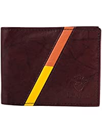 Buff & Jack Stylish Genuine Leather RED/YELLOW STRIPE Wallet For Men (Brown)