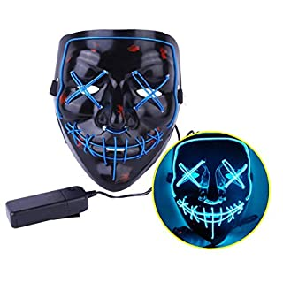 JYOHEY LED Maske 3 Einstellbare Blitzmodi Horror Halloween Maske Cosplay Fasching Halloween Kostüm