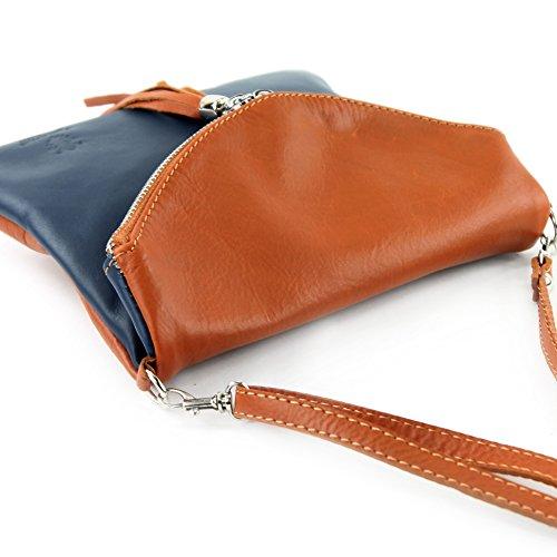 borsa di pelle ital. pochette pochette borsa tracolla Ragazze T139 piccola pelletteria T139 Dunkelblau/Camel