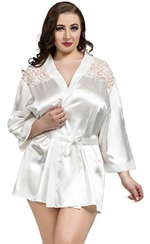 Preisvergleich Produktbild Ninex Damen Kimono Negligee Spitze S - 6XL 36 - 50 Weiß 50